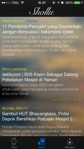 daftar berita islam pada aplikasi shollu
